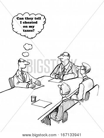 Cartoon about a man meeting with IRS agents and worried they know he has cheated on his taxes.