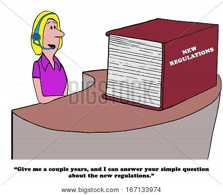 Cartoon about needing a long time to answer the simple question because the New Regulations Book is so thick and complicated.