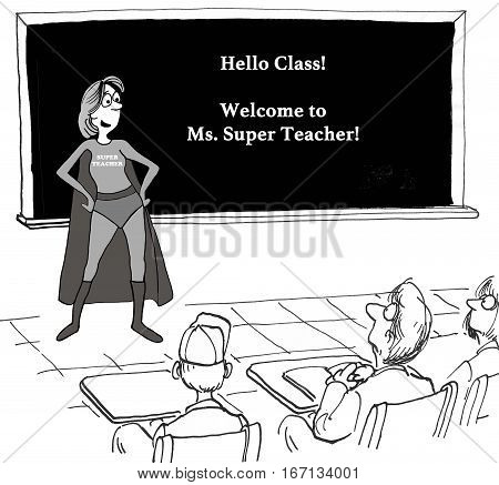 Education cartoon about a positive, upbeat Ms Super Teacher teaching a class.