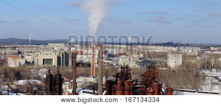 NIZHNY TAGIL RUSSIA - FEBRUARY 07 2015: Environmental problem of environmental pollution and air in large cities.