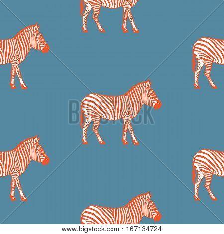 Seamless pattern with hand drawn zebra vector illustration.Orange zebras.