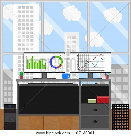 Work place jobs stockbroker. Finance stock broker. strategy working investment vector illustration