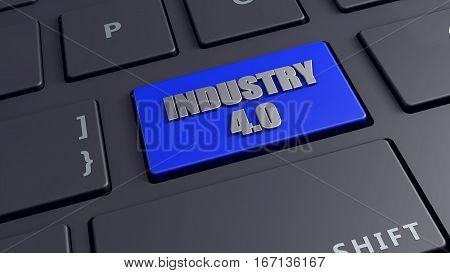 Industry 4.0 3d render keyboard computer generated
