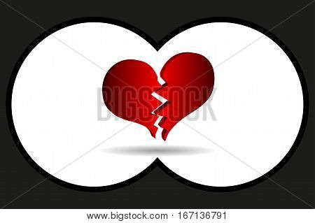 Binoculars view , bursting heart vector , broken heart