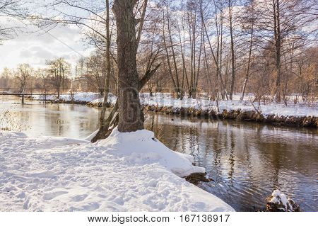 Small River in the Winter in Russia