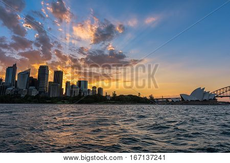 Sunset on the Sydney City Australia.JAN 29,2017 The City of Sydney is the local government area covering the Sydney central business district and surrounding inner city suburbs of the greater metropolitan area of Sydney.