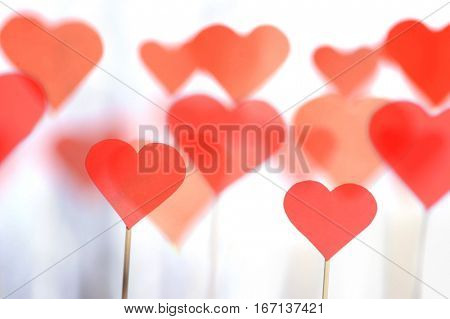 Small hearts with pins Concept like, love, valentine's day, holidays.