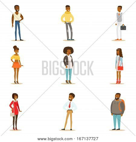 Afro-American Black People Street Style Clothing Set Of Cartoon Characters Standing. American Men And Women Of African Ethnic Group In Summer Clothes Vector Illustrations.