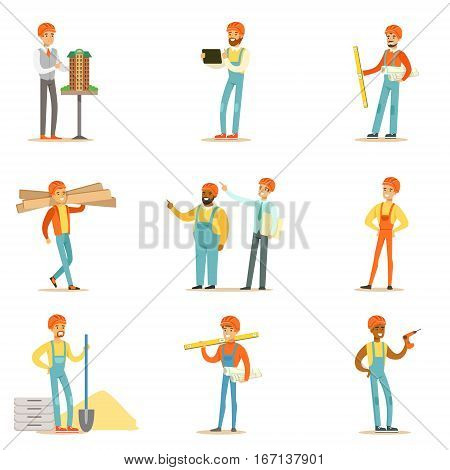 Architects And Construction Workers House Construction Process From Project To Building Series Of Illustrations. Cartoon Male Characters Working In Construction Set, Manual Laborers And Supervisors .