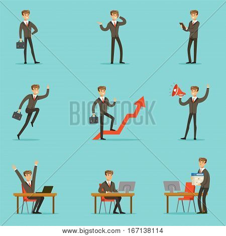 Businessman Work Process Set Of Business Related Scenes With Young Entrepreneur Cartoon Character. Manager In Suit Working In The Office And Out Of It In Finance Vector Illustrations.