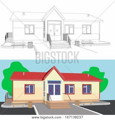 3D drawing of single storied house with a porch made in two variants black and white drawing and color drawing.