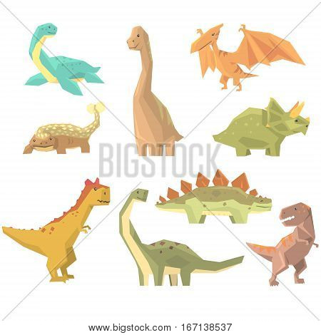 Dinosaurs Of Jurassic Period Set Of Prehistoric Extinct Giant Reptiles Cartoon Realistic Animals. T-Rex, Pterodactyl, Triceratops And Other Dinosaur Species Vector Illustrations.