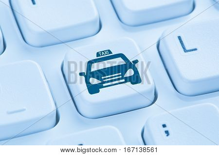 Book Taxi Cab Online Internet Booking Blue Computer Keyboard