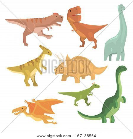 Dinosaurs Of Jurassic Period Collection Of Prehistoric Extinct Giant Reptiles Cartoon Realistic Animals. T-Rex, Pterodactyl, Triceratops And Other Dinosaur Species Vector Illustrations.