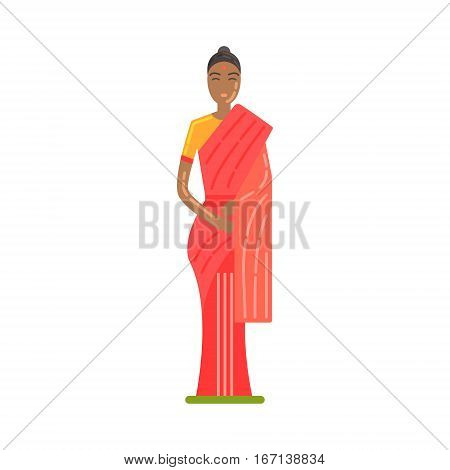 Woman In National Costume Wearing Red Sari, Famous Traditional Touristic Symbol Of Indian Culture. Colorful Vector Illustration With India Well-Known Cultural Object.