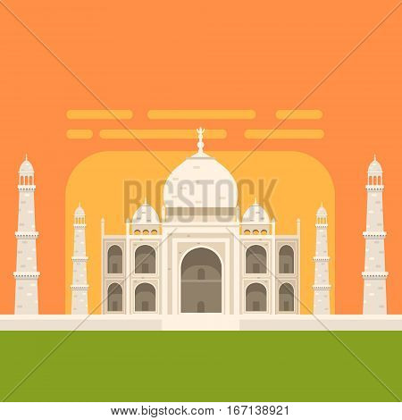 Taj Mahal White Burial Monument , Famous Traditional Touristic Symbol Of Indian Culture And Architecture. Colorful Vector Illustration With India Well-Known Cultural Object.