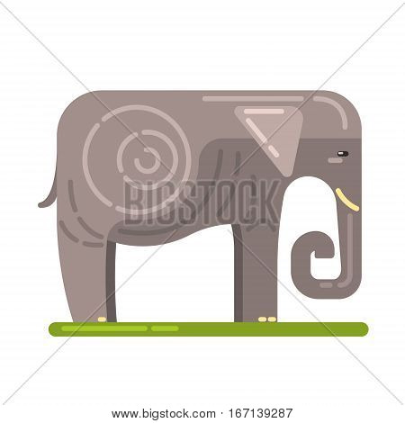 Domesticated Grey Elephant, Famous Traditional Touristic Symbol Of Indian Culture. Colorful Vector Illustration With India Well-Known Cultural Object.
