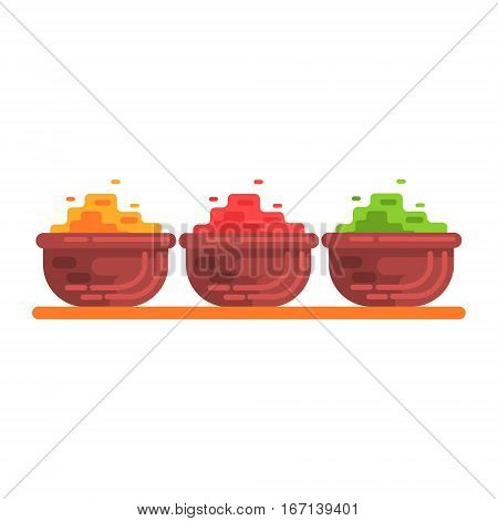 Set Of Different Color Curry Spices On The Market, Famous Traditional Touristic Symbol Of Indian Culture. Colorful Vector Illustration With India Well-Known Cultural Object.