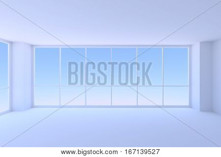 Business architecture office room interior - empty blue business office room with floor ceiling walls and two large window with morning blue sky light 3d illustration.