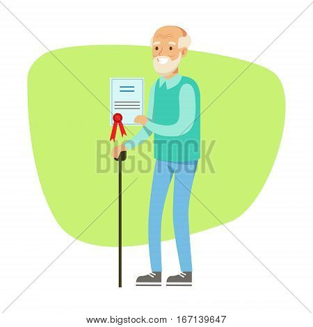 Old Man With Walking Stick Holding Insurance Contract , Insurance Company Services Infographic Illustration. Vector Icon With Type Of Insurance Helping People To Protect Their Property.