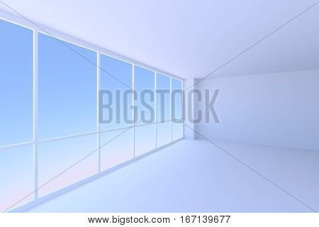 Business architecture office room interior - empty blue business office room with floor ceiling walls and large window in corner with morning blue sky light 3d illustration