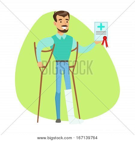 Man On Crouches Holding Health Insurance Contract , Insurance Company Services Infographic Illustration. Vector Icon With Type Of Insurance Helping People To Protect Their Property.