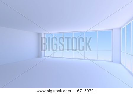 Business architecture office room interior - empty blue business office room with walls ceiling floor and two large window with morning blue sky light 3d illustration