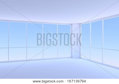 Business architecture office room interior - corner of empty blue business office room with two large windows with morning blue sky light 3d illustration
