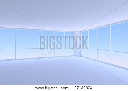 Business architecture office room interior - empty blue business office room corner with two large window with morning blue sky light 3d illustration
