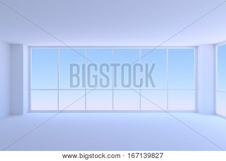 Business architecture office room interior - empty blue business office room with two large window with morning blue sky light 3d illustration closeup view
