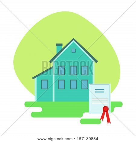 House Protected By The Insurance Contract , Insurance Company Services Infographic Illustration. Vector Icon With Type Of Insurance Helping People To Protect Their Property.