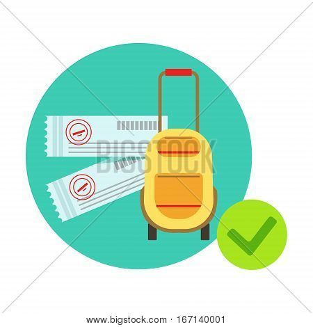 Travelling Bag And Luggage Protected By Insurance Contract , Insurance Company Services Infographic Illustration. Vector Icon With Type Of Insurance Helping People To Protect Their Property.