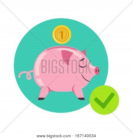 Piggy Bank And Coin As Symbol Of Personal Savings, Insurance Company Services Infographic Illustration. Vector Icon With Type Of Insurance Helping People To Protect Their Property.