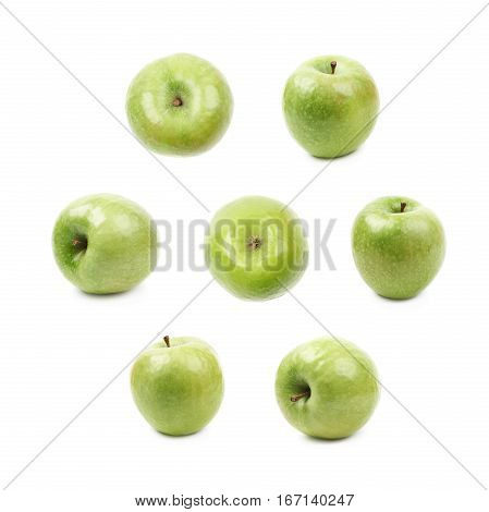 Single ripe and green granny Smith apple isolated over the white background, set of seven different foreshortenings
