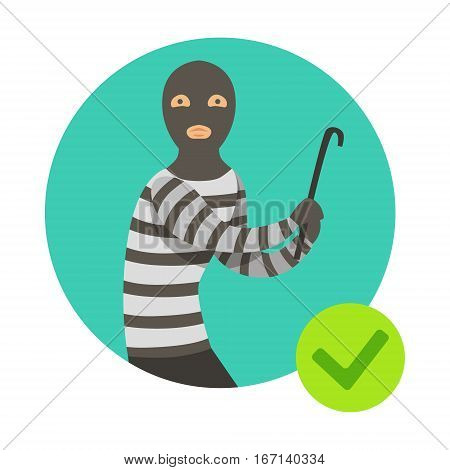 Burglar In Msk With Crowbar, Insurance Company Services Infographic Illustration. Vector Icon With Type Of Insurance Helping People To Protect Their Property.