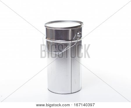 One Gallon Paint Bucket With Copy Space Isolated On White Background.