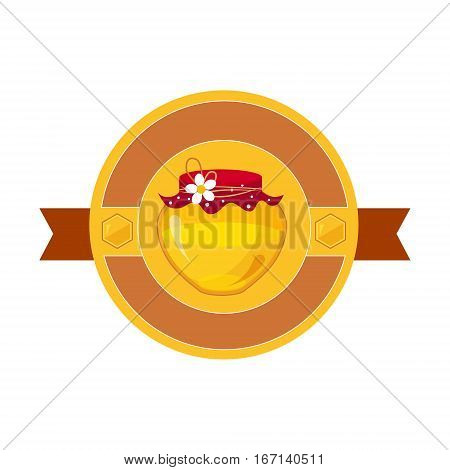 Floral Honey Jar Template Honey Product Label. Cute Colorful Honey Related Vector Sticker Isolated On White Background.