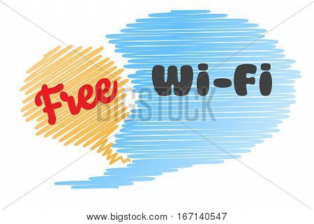vector icon in the form of two bubbles chat blue and orange color with the inscription free Wi fi