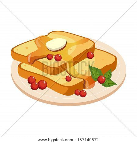 Bread Toasts With Melting Butter And Honey Plate Cartoon Illustration. Cute Colorful Honey Related Vector Sticker Isolated On White Background.