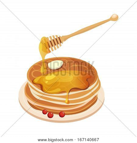 Pile Of Pancakes With Honey Dipper Cartoon Illustration. Cute Colorful Honey Related Vector Sticker Isolated On White Background.