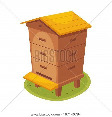 Manmade Wooden Farm Beehive Cartoon Illustration. Cute Colorful Honey Related Vector Sticker Isolated On White Background.