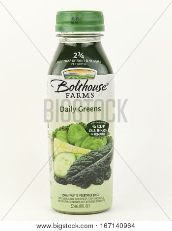 Spencer Wisconsin January282016 Bottle of Bolthouse Farms Daily Greens vegetable juice Bolthouse Farms was founded in 1915 and owned by Campbell's Soup Company