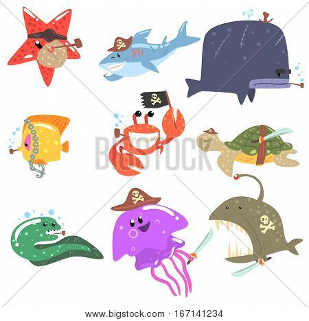 Marine Animals And Underwater Wildlife With Pirate Accessories And Attributes Set Of Comic Cartoon Characters.Funny Vector Illustrations With Aquatic Life With Human Clothing Elements.
