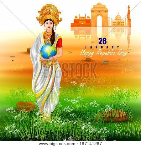 easy to edit vector illustration of Mother India on Monument and Landmark on Indian Republic Day celebration background