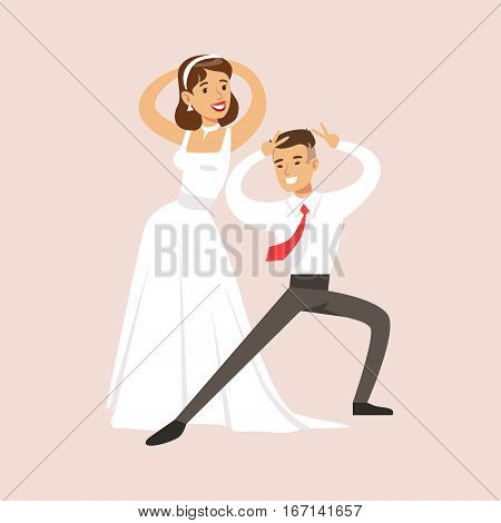 Newlyweds Doing Pulp Fiction Dance At The Wedding Party Scene. Cute Bride And Groom Couple In Classic Outfits Simple Vector Illustration On Pink Background.