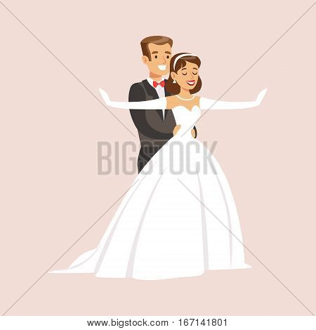 Newlyweds Doing Titaic Pose At The Wedding Party Scene. Cute Bride And Groom Couple In Classic Outfits Simple Vector Illustration On Pink Background.
