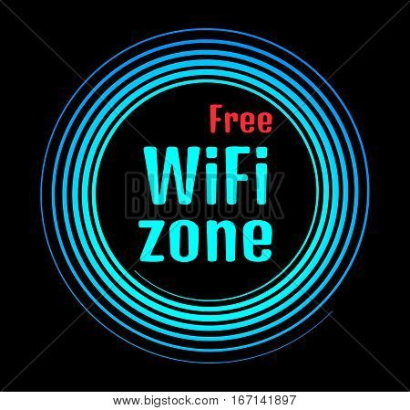 Round vector neon icon that says free Wi fi zone on a black background