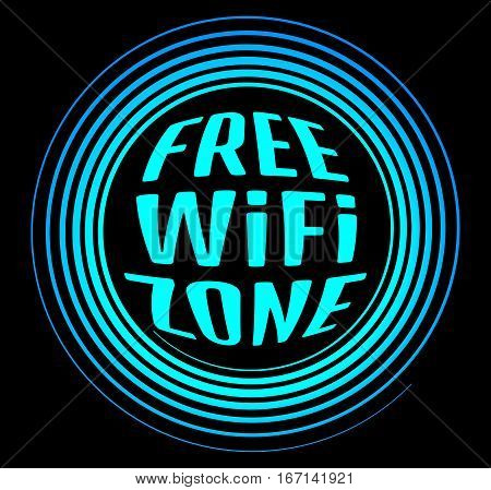 Round vector neon icon labeled free Wi fi zone on a black background