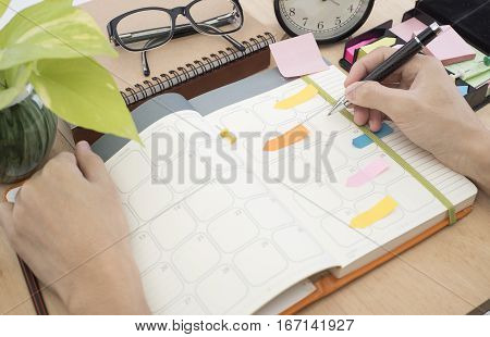 business Calender Planner meeting on desk office. organization management remind concept.