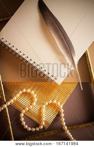 old vintage background with dark papers and golden surfaces